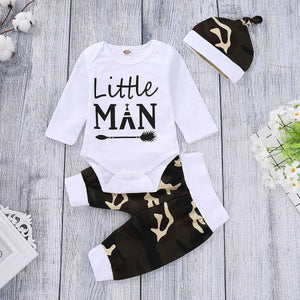 "3-piece ""Little Man"" Print Bodysuit, Camou Pants And Hat Set, zoerea.com"