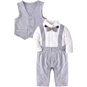 Baby 2-piece Striped Faux Bodysuit And Vest, zoerea.com
