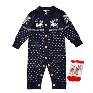 Adorable Deer Pattern Long-sleeve Knit Jumpsuit, zoerea.com