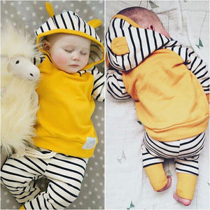2-piece Baby Boy Yellow Ear Decor Hoodie And Striped Pants Set, zoerea.com