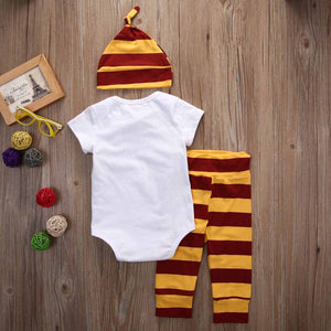 3-piece Letters Print Bodysuit Stripes Pants with Hat for Baby, zoerea.com