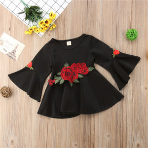 Toddler Kids Baby Girls Lovely  Long Sleeve Ruffle Printing Party Dress, zoerea.com