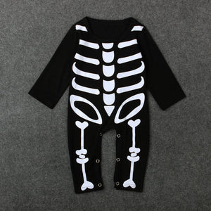 Newborn Baby Halloween Romper Long Sleeve Cotton Skull Jumpsuits - zoerea.com