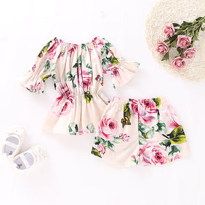 Baby Girls' Basic Floral Short Sleeve Top & Shorts Regular Clothing Set, zoerea.com