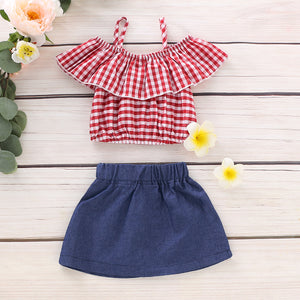 Plaid Flounced Strappy Top and Denim Skirt Set, zoerea.com