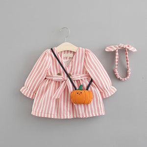 3-piece Cute Striped Belted Dress With a Bag, zoerea.com