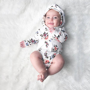 Stylish Floral Hooded Jumpsuit For Baby, zoerea.com