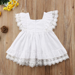 White Lace Toddler Kids Girls Summer Floral Pageant Party Dress, zoerea.com
