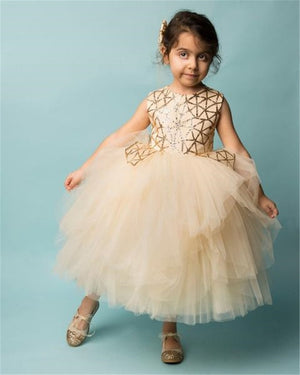 Kids Baby Girls tulle Formal Pageant Bridesmaid Gown Wedding Dress, zoerea.com