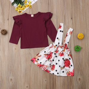 Kids Baby Girl Fly Sleeve Tops Floral Tutu skirt Party Princess Dress, zoerea.com