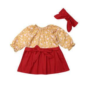 Kids Toddler Baby Girls Casual Clothes Flower Long Sleeve Floral Dress, zoerea.com