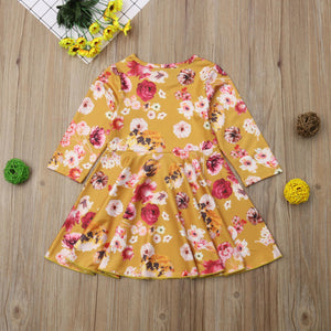 Baby Kids Girls Clothes Long Sleeves Princess Dress Floral Print Dress, zoerea.com