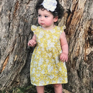 Newborn Baby Girl Fly Sleeve Skater Dress Kid Floral Summer Party Dress, zoerea.com