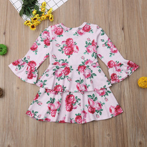 Toddler Kids Baby Girl Flower Layered Long Sleeve Princess Party Dress, zoerea.com