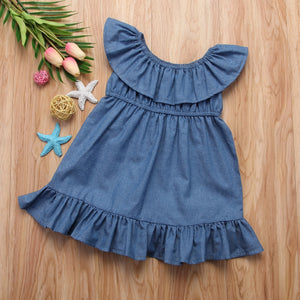Spring Summer Kids Baby Girls Princess Dress Toddler Denim Off Sundress, zoerea.com