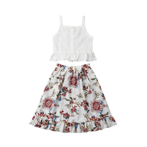 Toddler Baby Girl Cotton Clothes Set 2-piece Top And Floral Skirt, zoerea.com