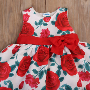 1-6Y Cute Baby Kids Girls Formal Tutu Floral Dress Bowknot Party Dresses, zoerea.com