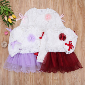 Kids Baby Girls Lace Flower Pageant Wedding Party Princess Tutu Dress, zoerea.com