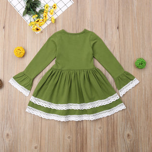 Kids Toddler Baby Girl Cotton Long Sleeve Princess Casual Party Dress, zoerea.com