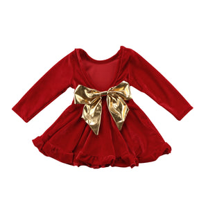 Baby Girl Velvet Princess Dress With BowKnot Party Pageant Birthday Gift, zoerea.com