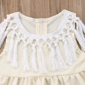 Baby Girl Princess Summer Solid Party Cotton Tassel Sundress Dress, zoerea.com