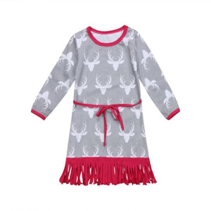 New Fashion Kids Girls Long Sleeve Print Belted Skater Party Dress, zoerea.com