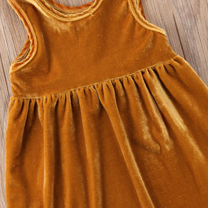 NEW Girls Kids Sleeveless Velvet Clothing Sundress Spring Casual Dress, zoerea.com