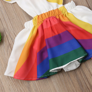 Kids Baby Girl Romper Rainbow Striped Ruffle Sleeve Party Dress, zoerea.com