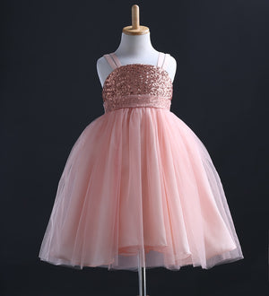Kids Baby Girls Princess Sequins Party Gown Formal Bridesmaid Dresses - zoerea.com