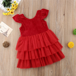 Toddler Kids Baby Girl Christmas Red Layered Pageant Party Tulle Dress, zoerea.com