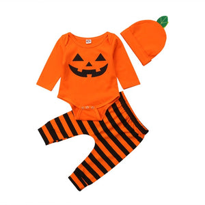 Halloween Newborn Baby Boy Girl Clothes Set Romper Striped Outfit - zoerea.com