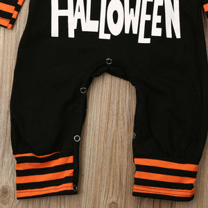 Toddler Baby Boy Girl Clothing Halloween Hooded Romper Stripe Jumpsuit - zoerea.com