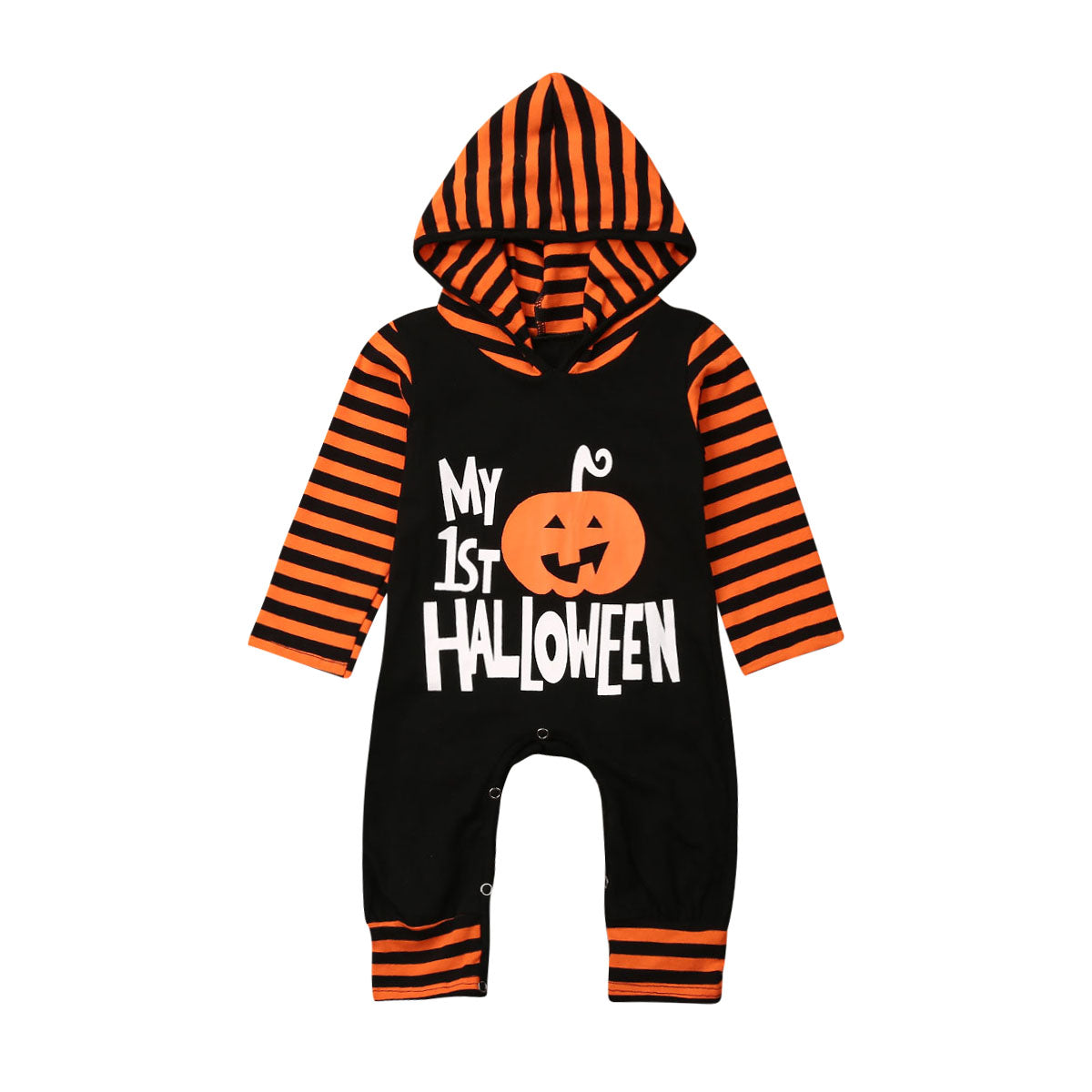 Infant Baby Boys Girls Hooded Letter Romper Jumpsuit Halloween Outfits Clothes