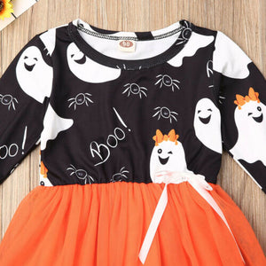 Baby Girls Kid Halloween Party Gown Clothes Sets Long Sleeve Dress - zoerea.com
