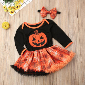 Newborn Baby Girls Long Sleeve Halloween Gown Outfits Pumpkin Skirt - zoerea.com