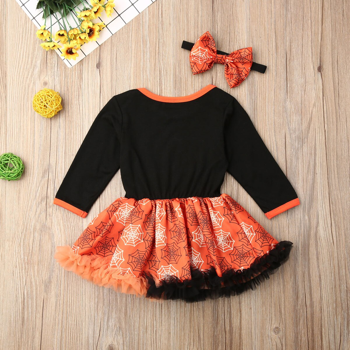 Infant Baby Toddler Girls Long Sleeve Halloween Pumpkin Ghost Party Dress Outfits