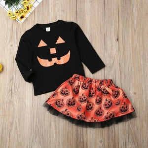 Toddler Kid Baby Girl Autumn Clothing Halloween Pumpkin Clothes Outfit, zoerea.com