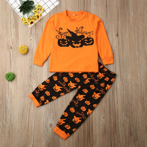 2019 Toddler Baby Clothing Halloween Long Sleeve Pumpkin Outfits Set, zoerea.com