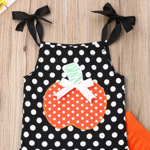 Newborn Baby Girl Summer Clothing Halloween Sleeveless Top Pumpkin Set, zoerea.com