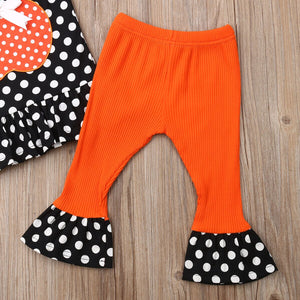 Newborn Baby Girl Summer Clothing Halloween Sleeveless Top Pumpkin Set - zoerea.com