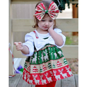 Christmas Toddler Girl Kids Santa Claus Strap Tops Party Dress, zoerea.com