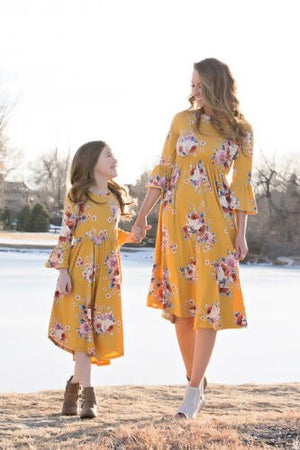 Family Dress Mother and Daughter Matching Outfits Clothes Floral Dress, zoerea.com