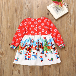 Toddler Infant Baby Girls Floral Christmas Santa snowman Long Dresses, zoerea.com