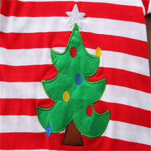 Toddler Kids Baby Girls Christmas Striped Clothes Long Sleeve Dress, zoerea.com