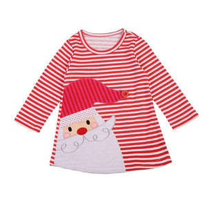 Christmas Infant Baby Toddler Girls Kids Striped Santa Claus Sundress, zoerea.com