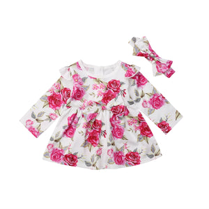 Kid Baby Girl Long Sleeve Floral Party Pageant Wedding Tutu Dress, zoerea.com