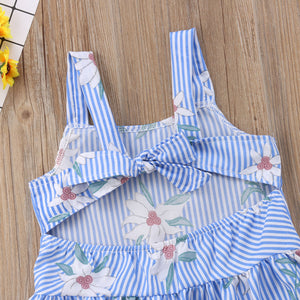 Toddler Kid Baby Girl Striped Flower Summer Outfits Backless Dress, zoerea.com