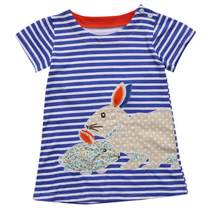 Cute Toddler Kids Baby Girls Summer Cartoon Bunny Striped Sundress, zoerea.com