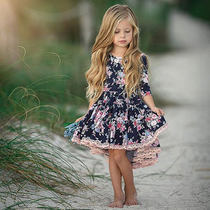 Princess Kids Baby Girl Casual Dress Lace Floral Party Solid  Dresses, zoerea.com