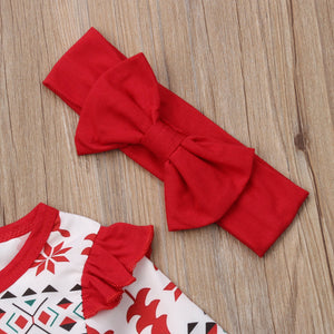 Baby Girl Christmas Cartoon Deer Fly Sleeve Party Dress Headband, zoerea.com